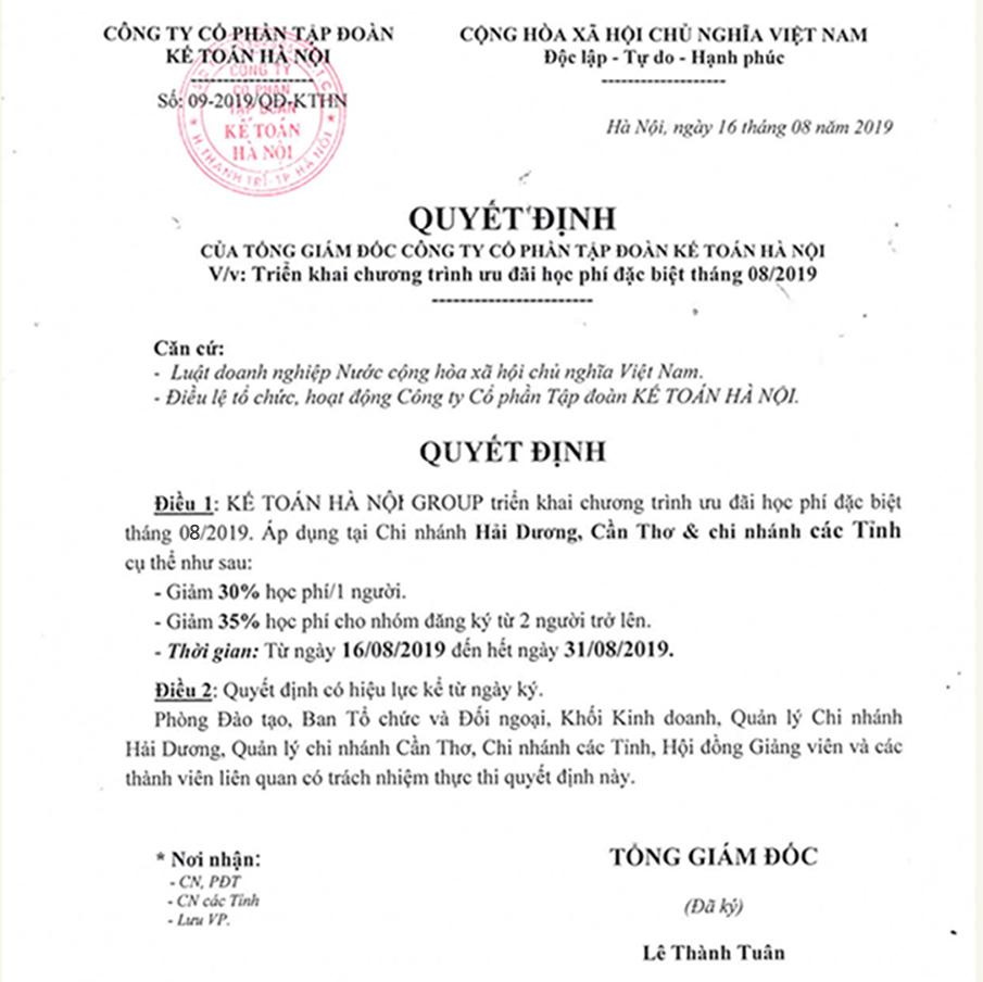 QĐ ưu đãi học phí 8/2019 tại các tỉnh Kokono