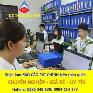 Dịch vụ làm báo cáo tài chính tại Khúc Xuyên Bắc Ninh
